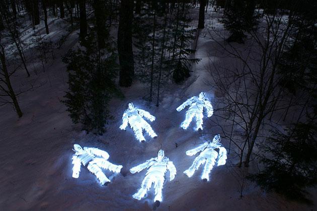 light painted skeleton figures