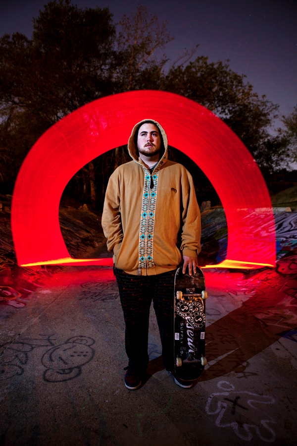 light painting by andy hemingway skateboarding