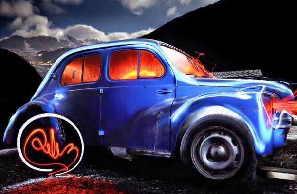 light painting car diliz