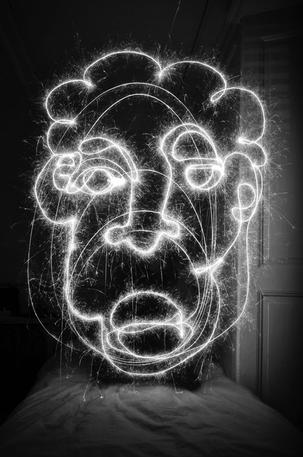 light painting face