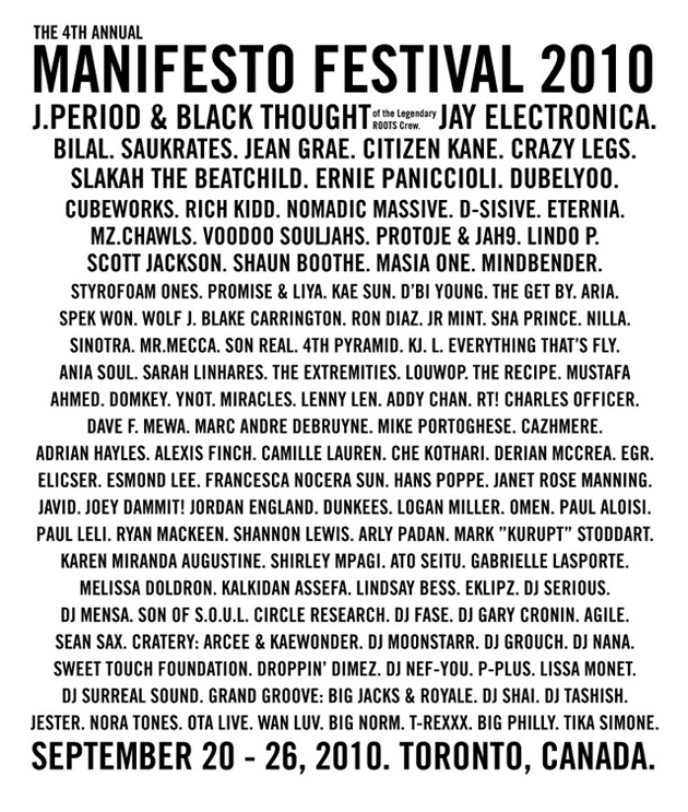 manifesto 2010 line up