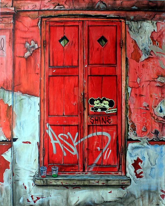 marc gooderham street art painting of london door