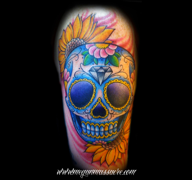 megan massacre sugar skull tattoo