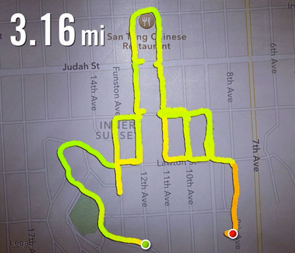 middle finger running map