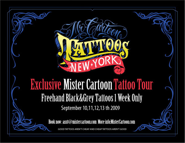 The famous tattoo artist Mister Cartoon will be visiting New York City from