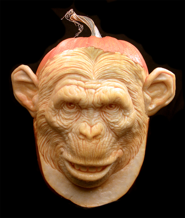 monkey head pumpkin carving