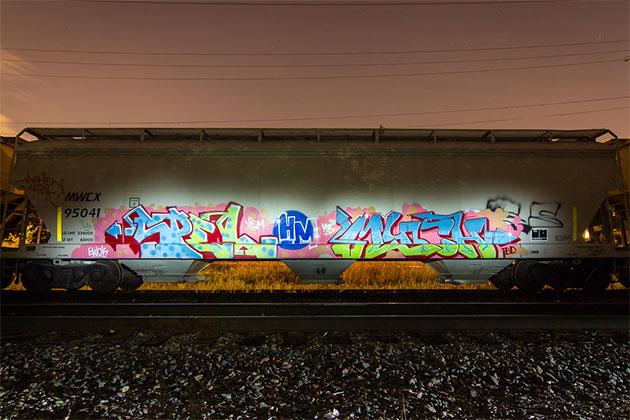 much spel hopper graffiti freight
