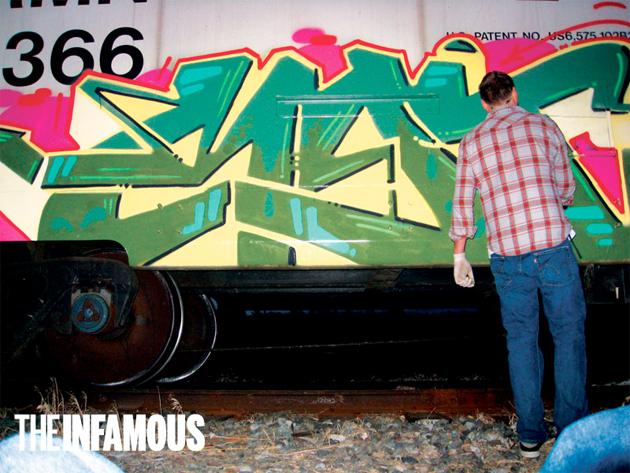 myth graffiti painting freight train
