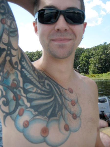 nipple tattoo. Here's an interesting tattoo created by the use of