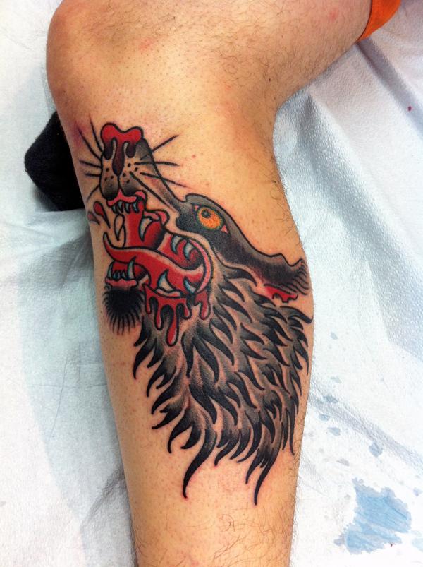 noway leg tattoo wolf