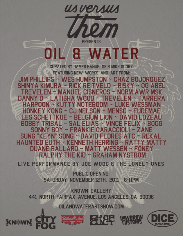 oil and water art show known gallery flyer
