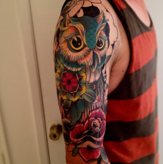 owl tattoo by Coty Vondracek