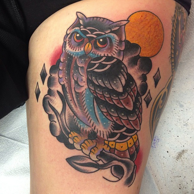 owl tattoo by franz stefanik