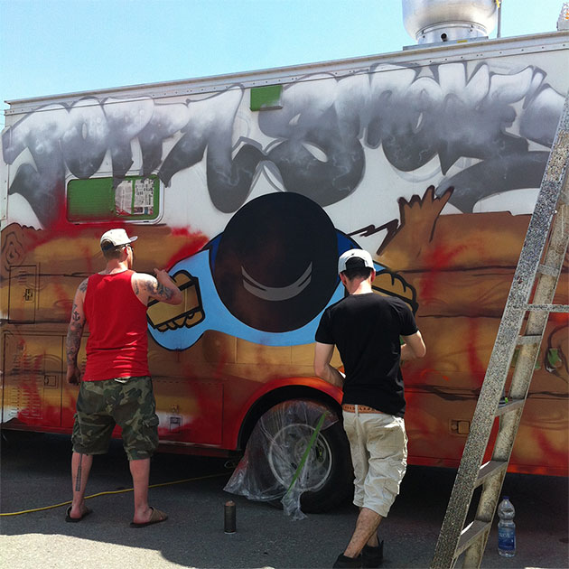 painting graffiti truck
