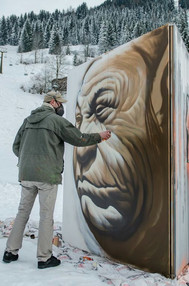 painting in the alps