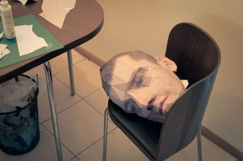 Eric Testroete paper head Halloween costume
