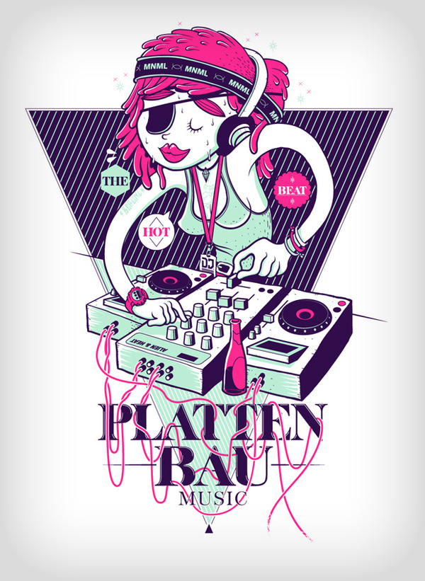 peachbeach girl dj illustration