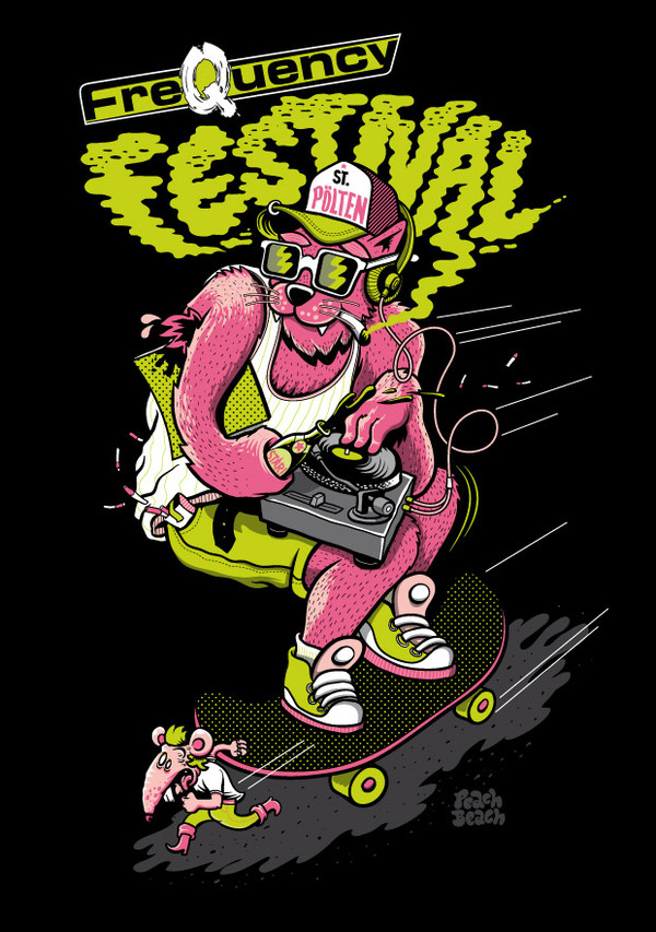 peachbeach skateboarding dj illustration