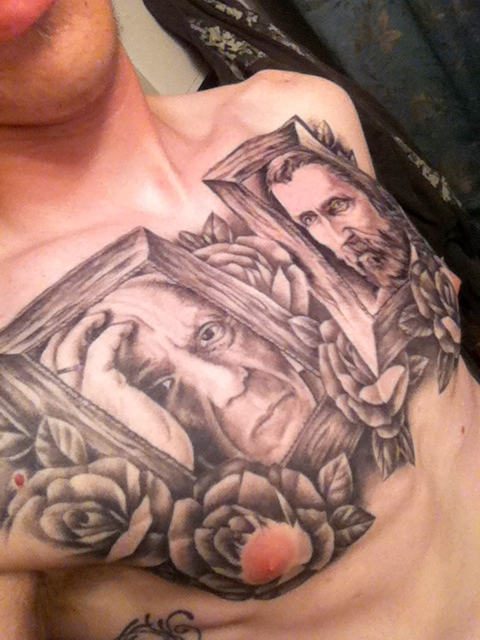 picasso van gogh chest tattoo
