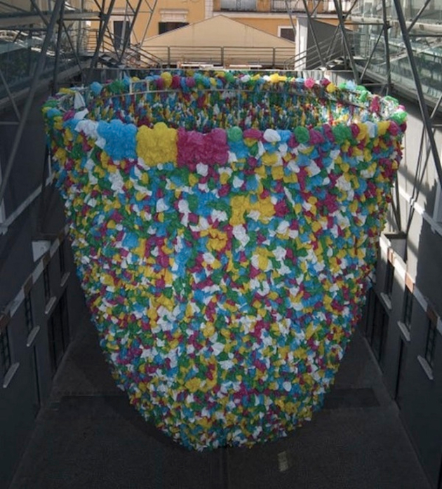 plastic bag sculpture in rome