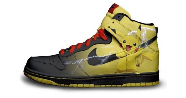 Pikachu Nike Shoes for Sale http://senseslost.com/2012/02/18/nike-shoe-designs-by-daniel-reese/