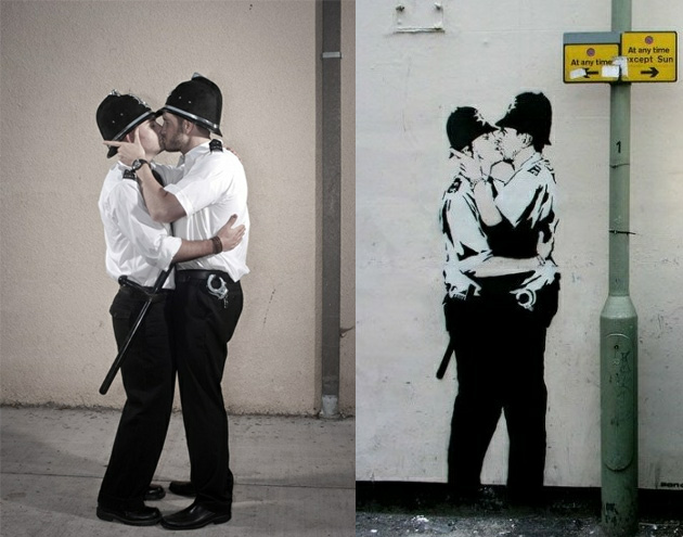 police kissing banksy recreated photography