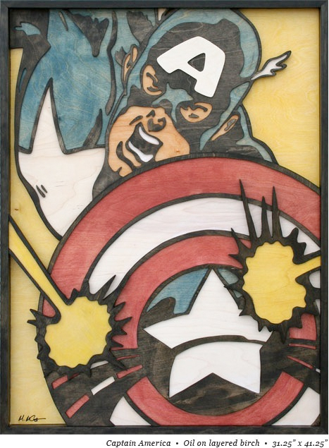 captain america pop art made of wood