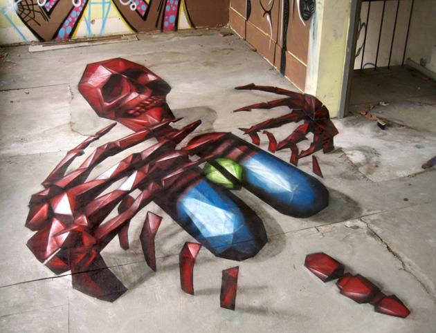 replete skeleton painting