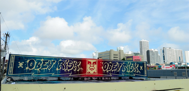 risk obey graffiti rooftop