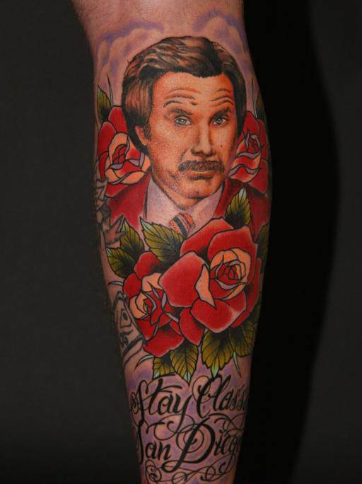 This is a great tattoo of Ron Burgundy (Will Ferrell) from the movie,