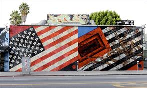 Saber and Shepard Fairey Flags Mural