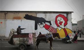 Sever Graffiti Ronald McDonald in Mexico