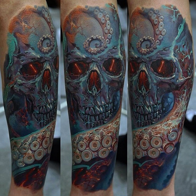 skull and octopus tattoo by Dmitriy Samohin