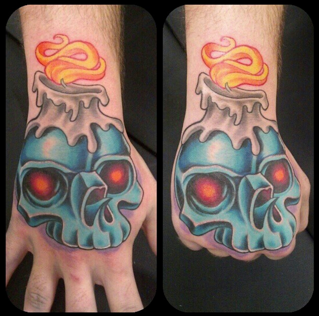 skull hand tattoo by amanda orcutt