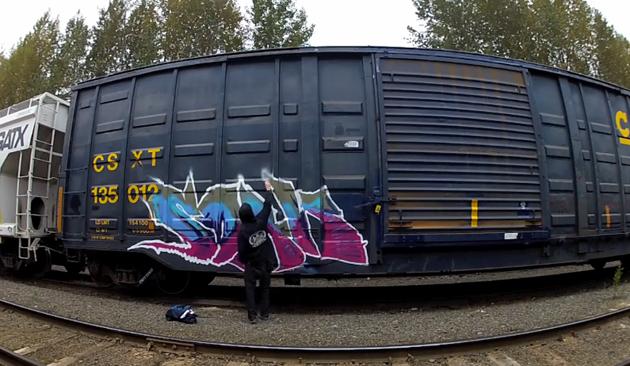 soak painting csx boxcar