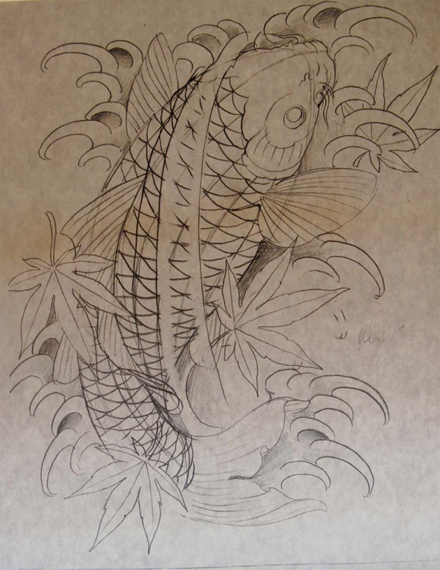 spotted koi fish tattoo sketch chris garver