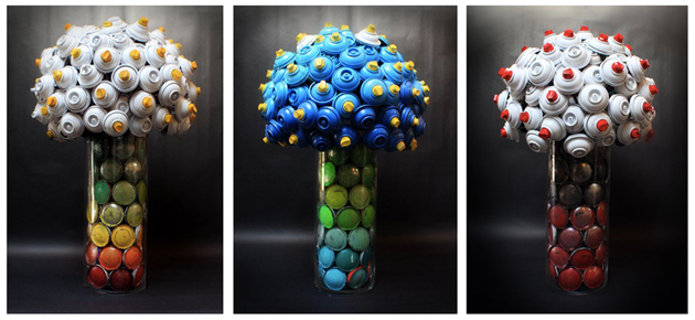 spray paint recycled flowers