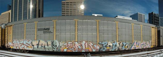 stitched autorack graffiti