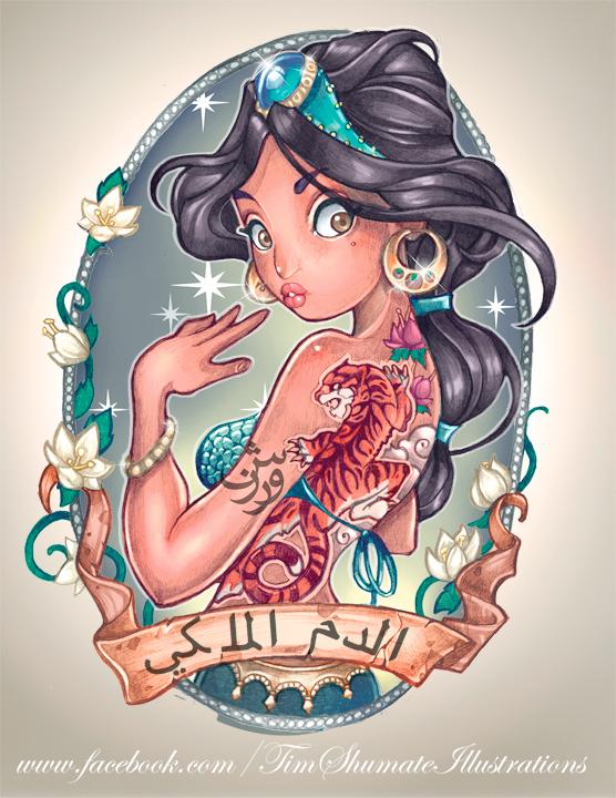 Illustrated Tattooed Disney Princesses Senses Lost