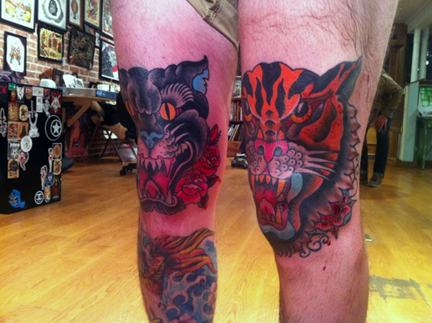 tiger kneecaps tattoo