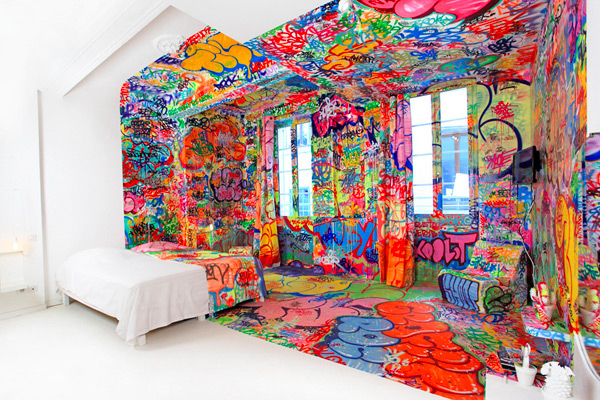 Hotel Room Half Covered in Graffiti | Senses Lost