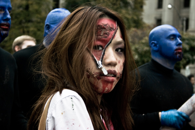 toronto zombie walk zipper face girl