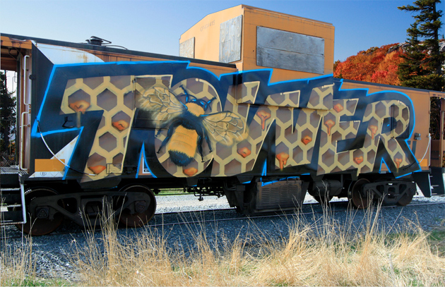 Tower Bumble Bee Graffiti Caboose