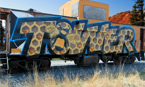 Tower Honeycomb Graffiti on a Caboose