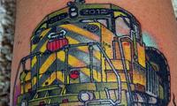 Train Engine Tattoo