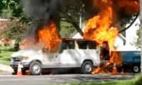 Truck Full Of Spray Paint On Fire