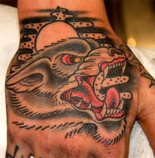 wolf tattoo hand