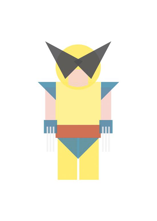 wolverine minimal shapes illustration