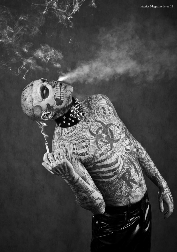 zombie boy blowing smoke
