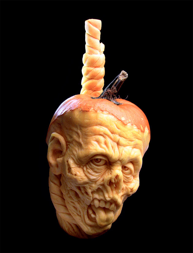 zombie pumpkin carving head
